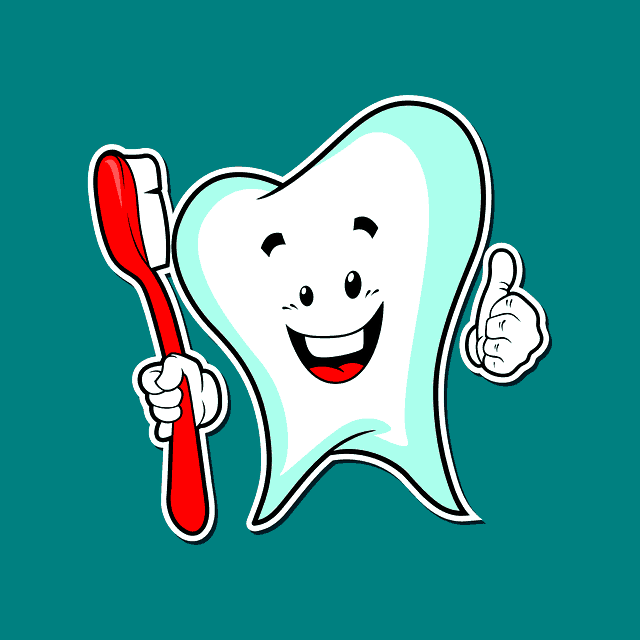 tooth holding a toothbrush