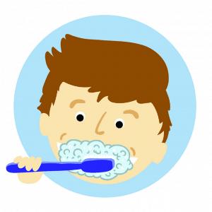 child brushing his teeth