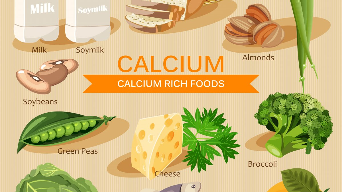 An image of foods that are rich in calcium and help tooth health